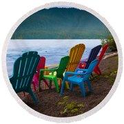 Lake Quinault Chairs Round Beach Towel