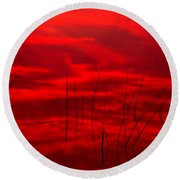 Lake Reeds And Red Sunset Round Beach Towel