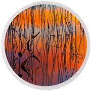 Lake Reeds And Sunset Colors Round Beach Towel