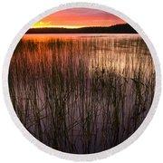 Lake Reeds At Sundown Round Beach Towel