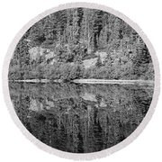 Lake Reflections In Black And White Round Beach Towel