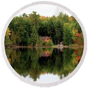 Lake Reflections Panorama 4370 4371 Round Beach Towel