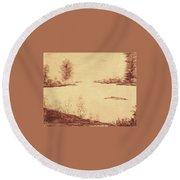 Lake Scene On Parchment Round Beach Towel