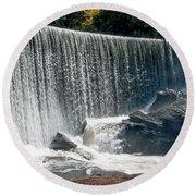 Lake Sequoyah Dam Falls - Highlands, North Carolina Round Beach Towel