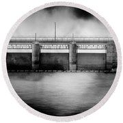Lake Shelbyville Dam Round Beach Towel