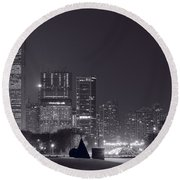Lake Shore Drive Chicago B And W Round Beach Towel