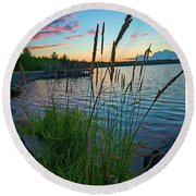 Lake Sunset And Sedge Grass Silhouettes, Pocono Mountains Round Beach Towel