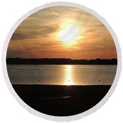 Lake Sunset-midrange Round Beach Towel