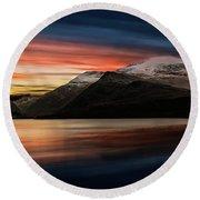 Lake Sunset Snowdonia Round Beach Towel