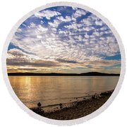 Lake Sunset Round Beach Towel