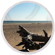 Lake Superior Driftwood Round Beach Towel