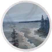 Lake Superior North Shore Waves  Round Beach Towel