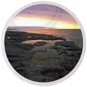 Lake Superior Sunrise Round Beach Towel