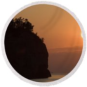 Lake Superior Sunset Round Beach Towel