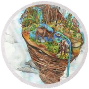 Lake Superior Watershed In Early Spring Round Beach Towel