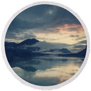Lake Sylvenstein With Red Sky Round Beach Towel