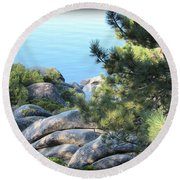 Lake Tahoe And Boulders Round Beach Towel