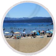 Lake Tahoe Beach Scene Round Beach Towel