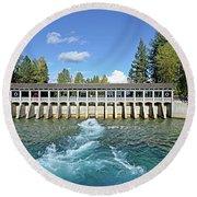 Lake Tahoe Dam Round Beach Towel