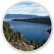 Lake Tahoe Emerald Bay Panorama Round Beach Towel