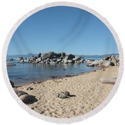 Lake Tahoe Morning Round Beach Towel