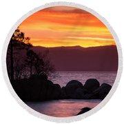 Lake Tahoe Sunset Colors Round Beach Towel