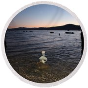 Lake Tahoe Sunset With Rocks And Black Framing Round Beach Towel