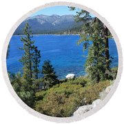 Lake Tahoe With Mountains Round Beach Towel