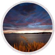 Lake Taupo Sunset Round Beach Towel