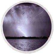 Lake Thunderstorm Round Beach Towel