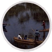 Lake Titicaca Reed Boats Round Beach Towel