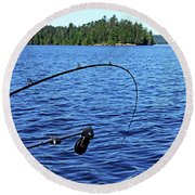 Lake Trout Fishing Round Beach Towel