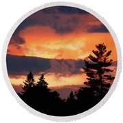 Lake Umbagog National Wildlife Refuge Sunset  Round Beach Towel