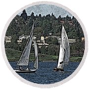 Lake Union Regatta Round Beach Towel