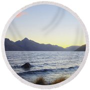 Lake Wakatipu At Sunset Round Beach Towel