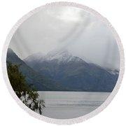 Lake Wanaka On A Rainy Spring Day Round Beach Towel