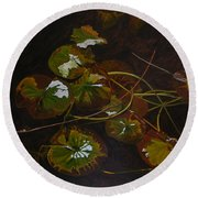 Lake Washington Lily Pad 16 Round Beach Towel