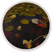 Lake Washington Lilypad 7 Round Beach Towel