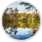 Lake Waterford Fall - Watercolor Fx Round Beach Towel