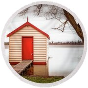 Lake Wendourie Boathouse Round Beach Towel