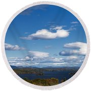 Lake Winnipesaukee New Hampshire In Autumn Round Beach Towel
