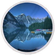 Lake With Moon At Four Am Round Beach Towel