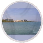 Lakefront On A Clear Day Round Beach Towel