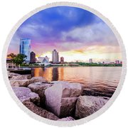 Lakefront Sunset On Rocks Round Beach Towel