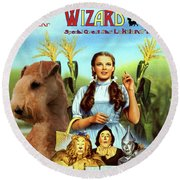 Lakeland Terrier Art Canvas Print - The Wizard Of Oz Movie Poster Round Beach Towel