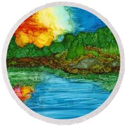 Lakeshore Round Beach Towel
