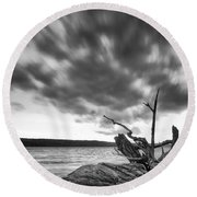 Lakeshore Winter Clouds Round Beach Towel