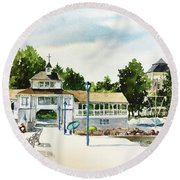 Lakeside Dock And Pavilion Round Beach Towel