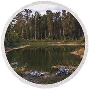 Lakeside Reflections Round Beach Towel
