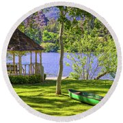 Lakeside Relaxation Round Beach Towel